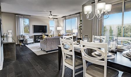 Dining room and kitchen in the Lillian floor plan