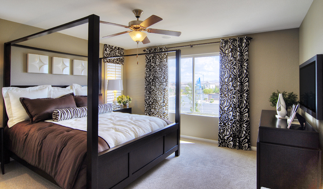 Master bedroom in the Lindsay floor plan