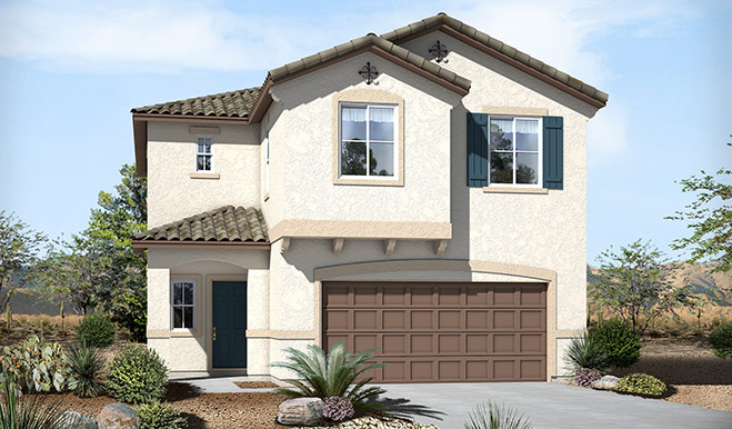 Exterior A of the Lindsay floor plan in the Skyline Ridge community