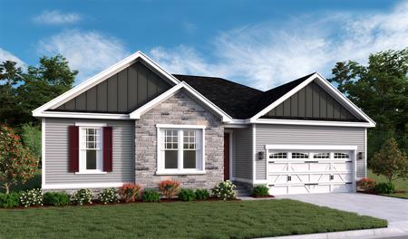 New home stone front exterior of Decker floor plan
