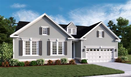 New home exterior F of Decker floor plan with partial brick