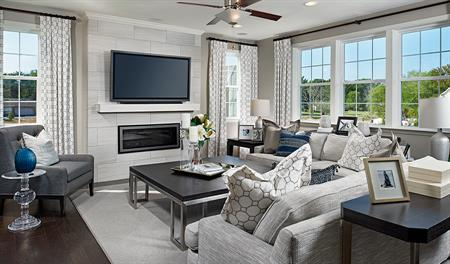 Family room in the Hemingway floor plan