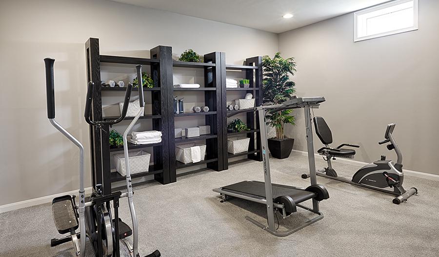 Fitness room in the Hemingway floor plan