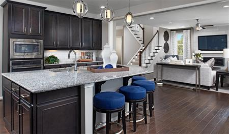 kitchen and great room of the hemingway floor plan - New Homes Designs