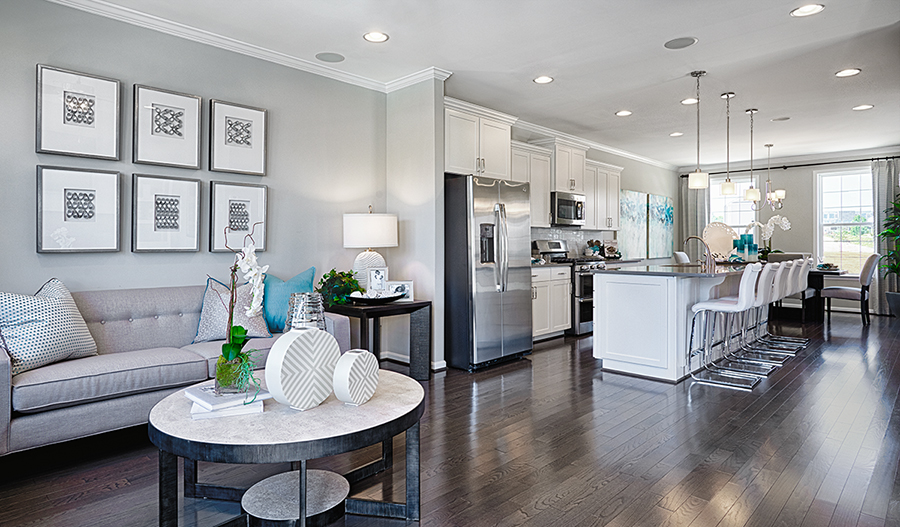 Great room and kitchen of the Kyla floor plan