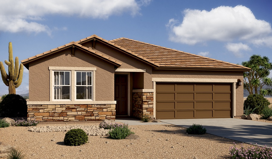 Exterior B of the Raleigh floor plan in the Mountain Vail Ranch II community