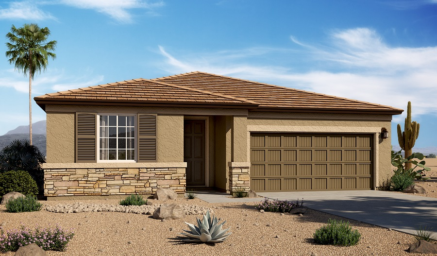 Exterior C of the Raleigh floor plan in the Mountain Vail Ranch II community
