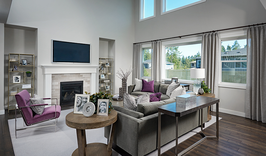 Great room with fireplace in the Dillon floor plan