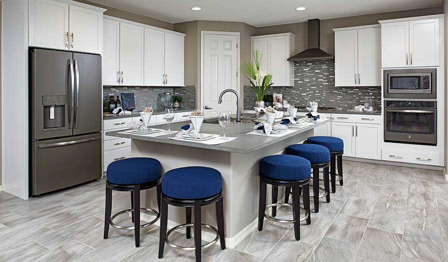 Kitchen with large center island in the Yorktown floor plan