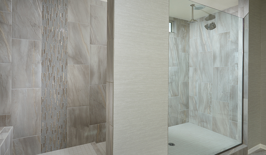 Master bathroom with walk in shower in the Yorktown floor plan