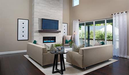 Family room with fireplace in the Jessica floor plan