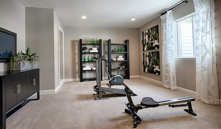 Fitness room in the Jessica floor plan