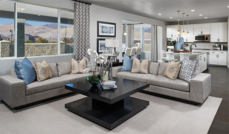 Great room in the Yorktown floor plan