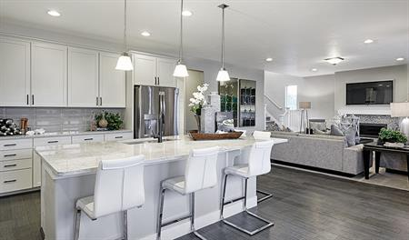 Great room in the Yorktown floor plan