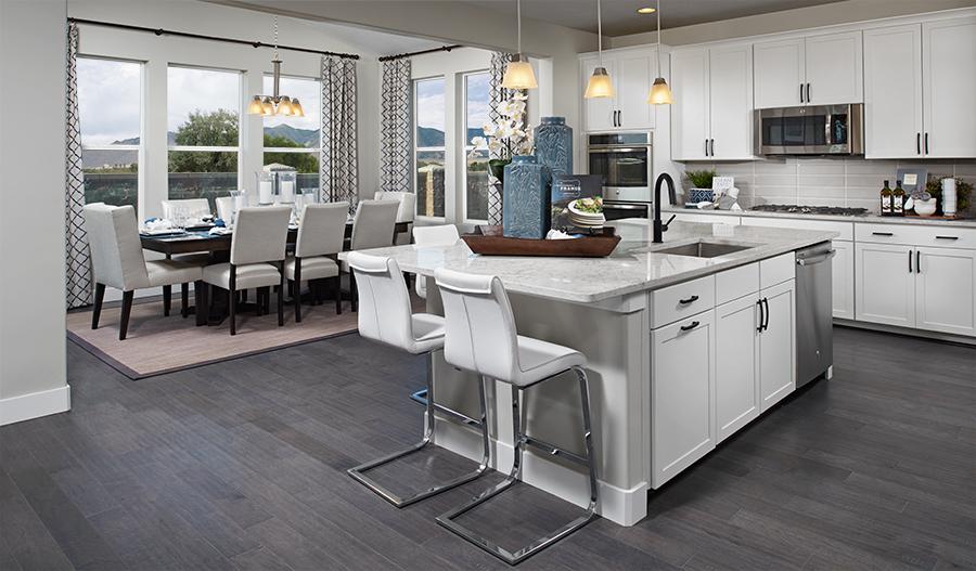 Kitchen and nook in the Yorktown floor plan