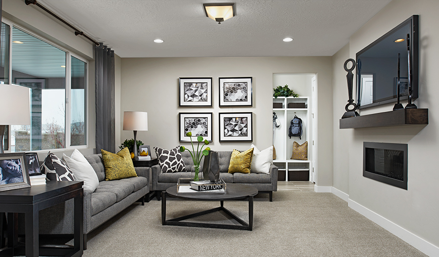 Family room in the Bedford floor plan
