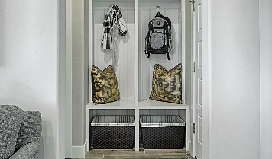 Mudroom in the Bedford floor plan
