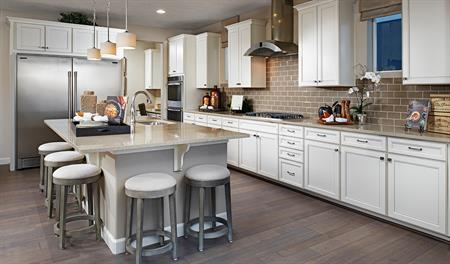 Kitchen with center island in the Hopewell floor plan