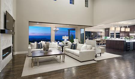 Great room with mountain view in The Reilly floor plan