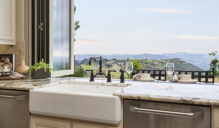 Kitchen with mountain view in the Rockwell floor plan