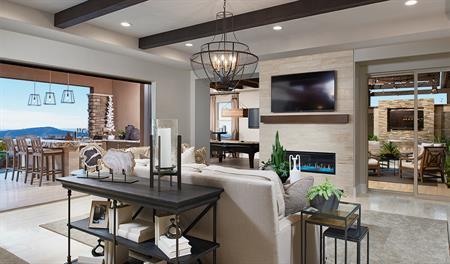 Open great room in the Rockwell floor plan
