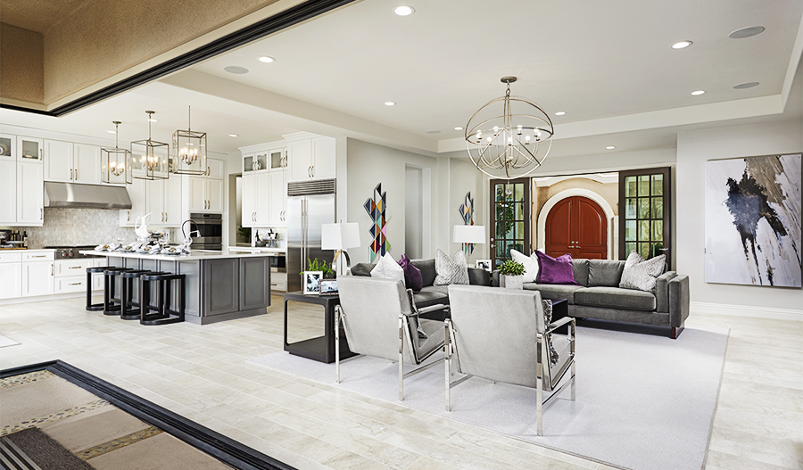 Open kitchen and great room of the Melbourne floor plan