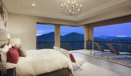 Master bedroom with mountain view in the Melbourne floor plan