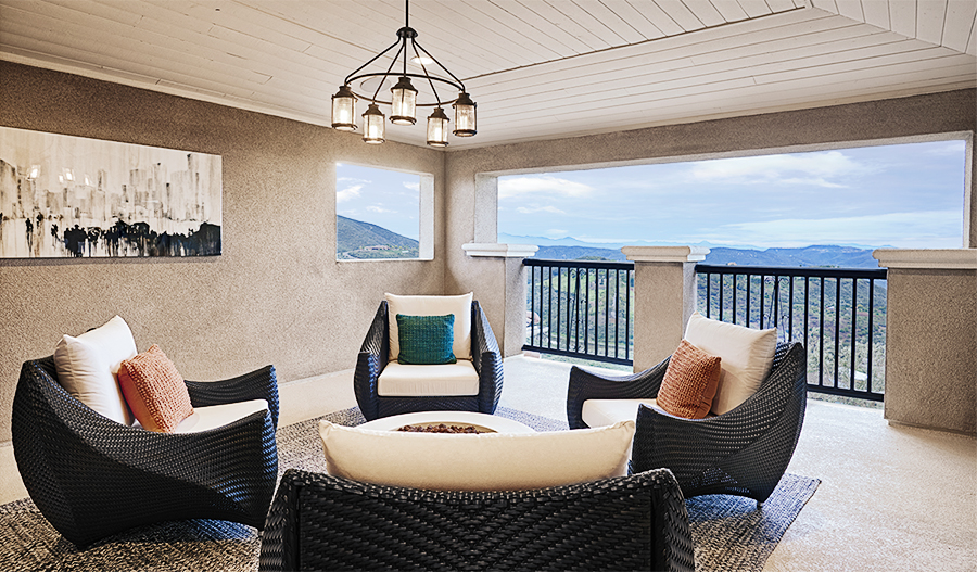 Outdoor sitting area with mountain view in the Melbourne plan