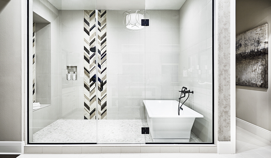 Shower in the master bathroom of the Rockwell floor plan