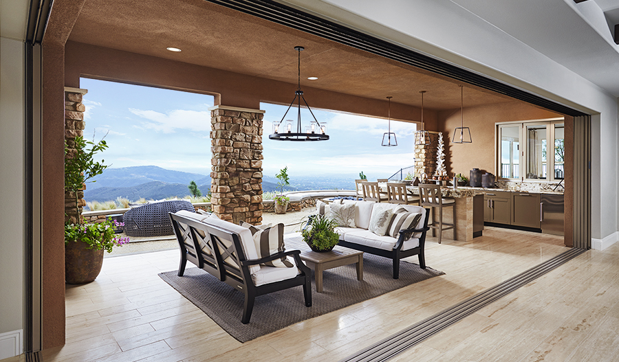 Covered sitting area in the Rockwell floor plan