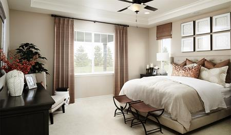 Master bedroom in the Arlington floor plan