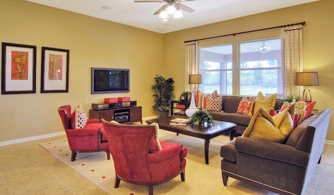 Great room in the Delaney floor plan
