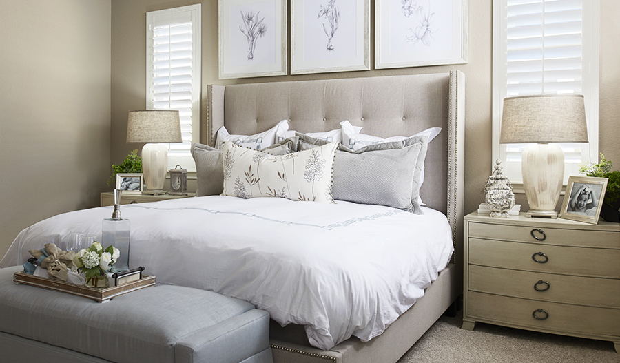 Master bedroom in the Arlington floor plan