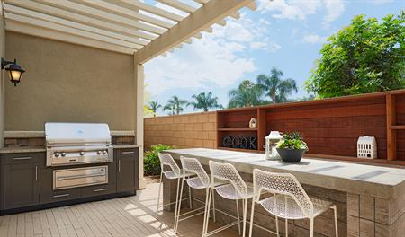Patio and grill area in the Balsam floor plan
