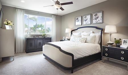 Master bedroom in the Longshore floor plan