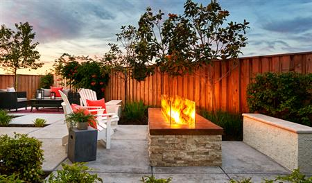 Patio with fire pit of the Bernard floor plan