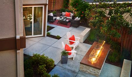 Patio with fire pit in the Bernard floor plan