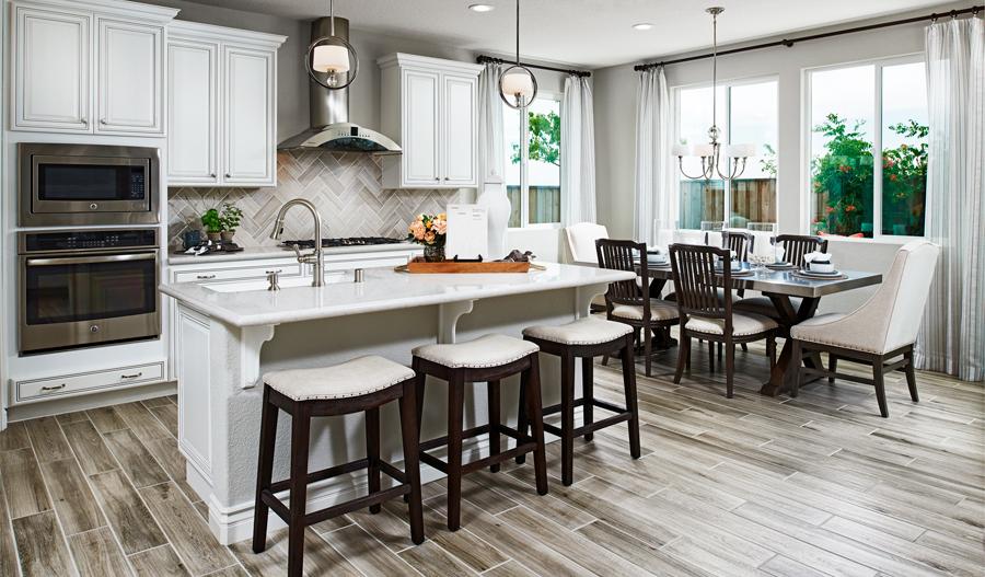 Kitchen and nook of the Bernard floor plan