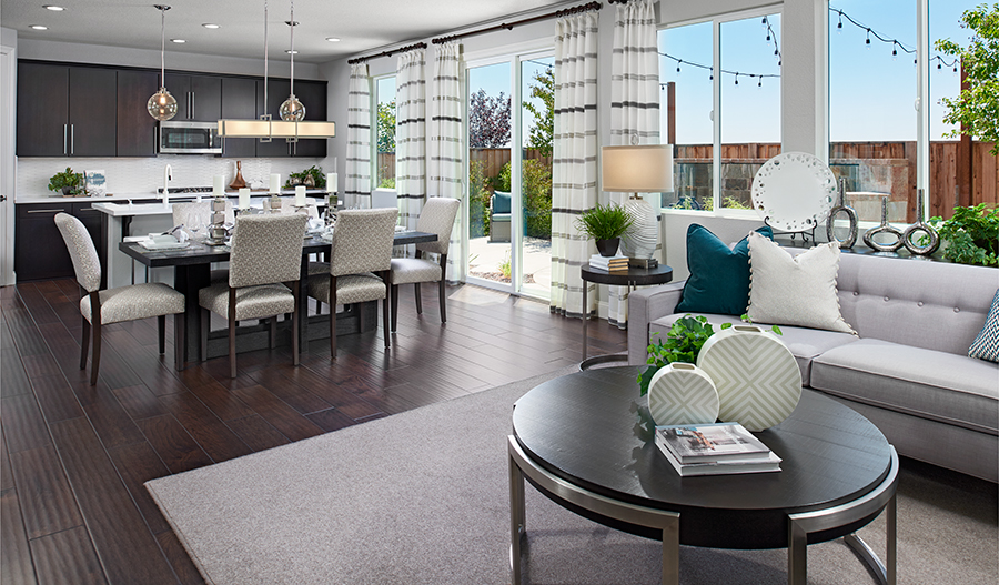 Great room and kitchen of the Lynn floor plan