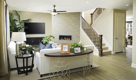 Great room and stairway of the Hemingway floor plan