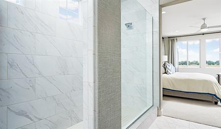Master bathroom with walk in shower in the Lynn floor plan