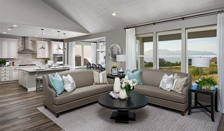 Great room and kitchen of the Helena floor plan