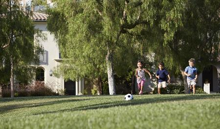 Children playing soccer at Juniper at Portola Springs