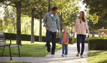 Family walking to school