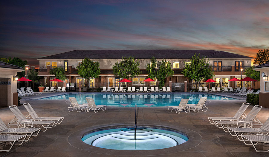 Community pool at Heirloom at the Preserve in southern California