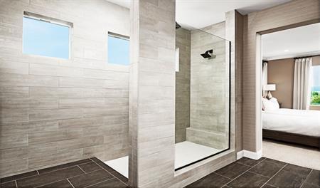 Master bathroom with walk-in shower in the Stewart floor plan