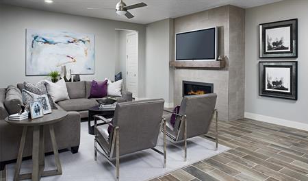 Family room of the Bedford floor plan