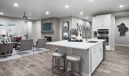 Kitchen and great room of the Bedford floor plan