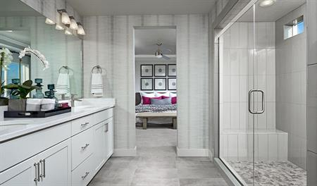 Master bathroom and bedroom of the Bedford floor plan