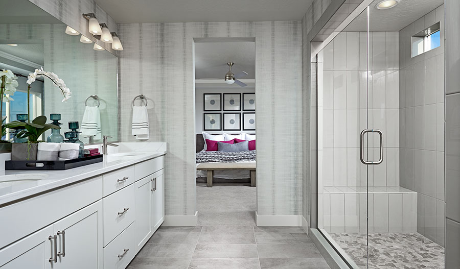 Master bathroom and bedroom of the Bedford floor plan